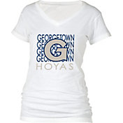 boxercraft Women's Georgetown Hoyas Perfect Fit V-Neck White T-Shirt