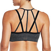 CALIA by Carrie Underwood Women's Inner Power Strappy Halter Seamless Heather Sports Bra