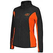 Colosseum Athletics Women's Oklahoma State Cowboys Black/Orange Alpine Quilted Full-Zip Jacket