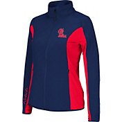 Colosseum Athletics Women's Ole Miss Rebels Black/Red Alpine Quilted Full-Zip Jacket