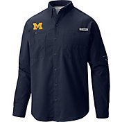 Columbia Men's Michigan Wolverines Blue Tamiami Long Sleeve Shirt