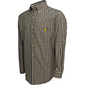 Campus Specialties Men's West Virginia Mountaineers Blue Multi-Checkered Woven Long Sleeve Shirt