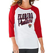 G-III for Her Women's Florida Panthers Hang Time Three Quarter Sleeve Vintage Red T-Shirt