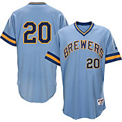 Majestic Men's Milwaukee Brewers Jonathan Lucroy #20 Light Blue Turn Back The Clock Authentic Flex Base Jersey