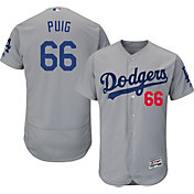 Majestic Men's Authentic Los Angeles Dodgers Yasiel Puig #66 Alternate Road Grey Flex Base On-Field Jersey