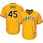 Majestic Men's Replica Pittsburgh Pirates Gerrit Cole #45 Cool Base Alternate Gold Jersey