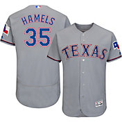 Majestic Men's Authentic Texas Rangers Cole Hamels #35 Road Grey Flex Base On-Field Jersey