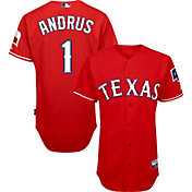 Majestic Men's Authentic Texas Rangers Elvis Andrus #1 Cool Base Alternate Red On-Field Jersey