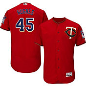 Majestic Men's Authentic Minnesota Twins Phil Hughes #45 Alternate Red Flex Base On-Field Jersey