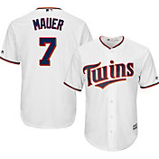 Majestic Men's Replica Minnesota Twins Joe Mauer #7 Cool Base Home White Jersey