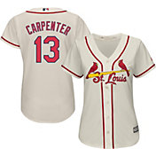 Majestic Women's Replica St. Louis Cardinals Matt Carpenter #13 Cool Base Alternate Ivory Jersey