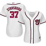 Majestic Women's Replica Washington Nationals Stephen Strasburg #37 Cool Base Home White Jersey