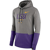 Nike Men's LSU Tigers Grey/Purple Therma Hoodie