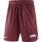 Nike Men's Arkansas Razorbacks Cardinal Knit Football Sideline Performance Shorts