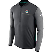 Nike Men's Miami Dolphins Sideline 2017 Coaches Anthracite Half-Zip Top