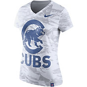 Nike Women's Chicago Cubs Dri-Blend White Tonal Pattern V-Neck T-Shirt