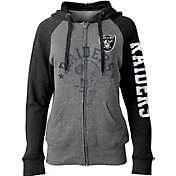 5th & Ocean Women's Oakland Raiders Tri-Blend Fleece Grey Full-Zip Hoodie