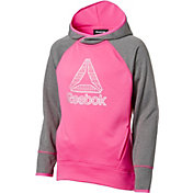 Reebok Girls' Performance Fleece Heather Print Hoodie
