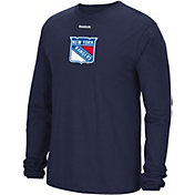 Reebok Men's New York Rangers Jersey Crest Navy Long Sleeve T-Shirt