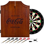 Trademark Games Coca-Cola Wood Dart Cabinet Set
