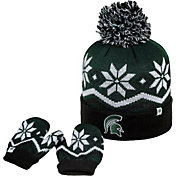 Top of the World Youth Michigan State Spartans Green/Black/White Lil Frost Beanie and Mittens Set
