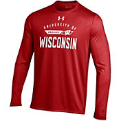 Under Armour Men's Wisconsin Badgers Red On Field Performance Long Sleeve T-Shirt