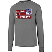 '47 Men's New York Rangers Slogan Club Grey Long Sleeve T-Shirt