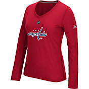 adidas Women's Washington Capitals Primary Position Red Performance V-Neck Long Sleeve Shirt