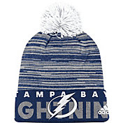 adidas Men's Tampa Bay Lightning Locker Room Royal Pom Knit Beanie