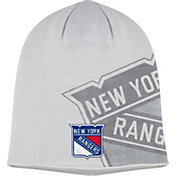 adidas Men's New York Rangers Logo White Knit Beanie