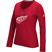 adidas Women's Detroit Red Wings Primary Position Red Performance V-Neck Long Sleeve Shirt