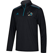 adidas Men's San Jose Sharks Black Performance Quarter-Zip Jacket