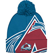 adidas Men's Colorado Avalance Logo Blue Pom Knit Beanie