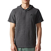 adidas Men's Essentials Heathered Pique Short Sleeve Hoodie