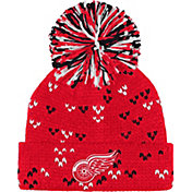 adidas Women's Detroit Red Wings Red Cuff Pom Knit Beanie