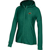 adidas Women's Minnesota Wild Logo Green Full-Zip Performance Hoodie