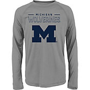 adidas Youth Michigan Wolverines Long Sleeve Grey T-Shirt
