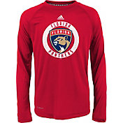 adidas Youth Florida Panthers Practice Red Performance Long Sleeve Shirt