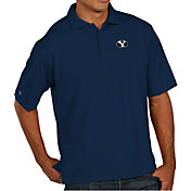 Antigua Men's BYU Cougars Blue Pique Xtra-Lite Polo