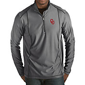 Antigua Men's Oklahoma Sooners Grey Tempo Half-Zip Pullover