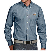 Antigua Men's Montana State Bobcats Blue Associate Button Down Long Sleeve Shirt