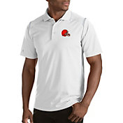 Antigua Men's Cleveland Browns Merit White Xtra-Lite Polo