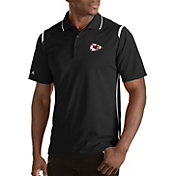 Antigua Men's Kansas City Chiefs Merit Black Xtra-Lite Polo