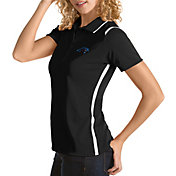 Antigua Women's Carolina Panthers Merit Black Xtra-Lite Pique Polo