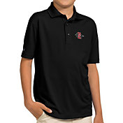 Antigua Youth San Diego State Aztecs Black Pique Polo