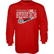 Blue 84 Men's Ohio State Buckeyes Scarlet 2017 Big Ten Football Champions Locker Room Long Sleeve T-Shirt