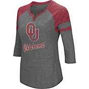 Colosseum Women's Oklahoma Sooners Grey Three-Quarter Sleeve Tri-Blend T-Shirt