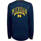 Champion Michigan Wolverines Blue Pursuit Long Sleeve Shirt