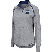 Colosseum Women's Michigan Wolverines Grey Bikram Quarter-Zip Top