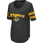 Colosseum Women's Missouri Tigers Bean Babbitt Raglan Black T-Shirt